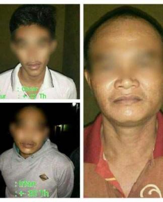 foto:Wajah tiga tahanan yang melarikan diri dari Polsek Pasirpenyu.