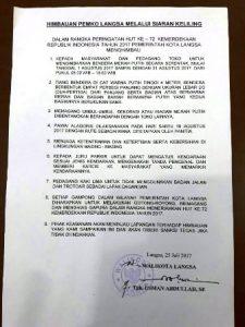 Surat Edaran Himbauan Pemko Langsa Jelang Hut RI Ke 72