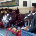 Bupati Aceh Timur H. Hasballah HM. Thaib menyampaikan sambutan pada Muzakarah Ulama Se Aceh di Komplek Dayah Bustanul Huda, Desa Matang Rayeuk, Kec. Simpang Ulim, Rabu 11 April 2018. Foto: Humas Pemkab Aceh Timur