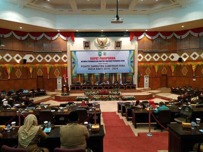 Rapat Paripurna DPRD Provinsi Riau Tentang Pidato Sambutan Gubernur Riau 2019-2024