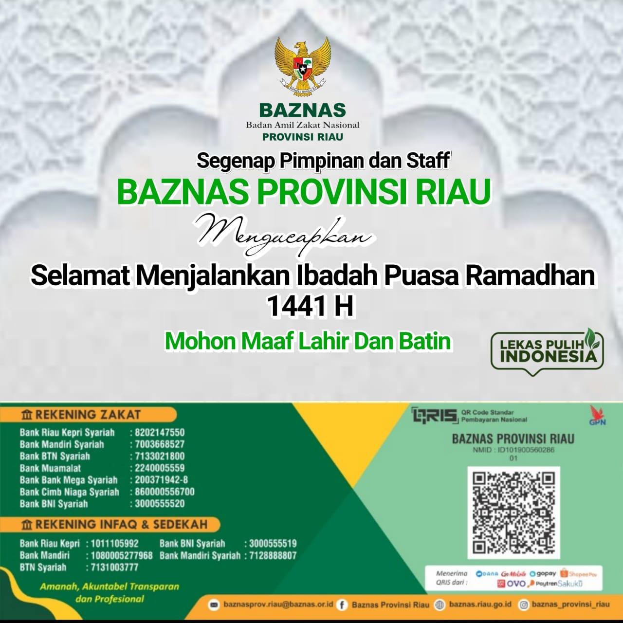 Ucapan iklan Ramadhan 1441H BAZNAS Riau